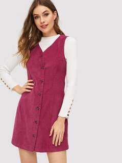 Button Front V-Neck Cord Dress