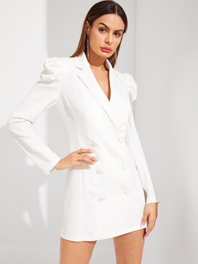 SheIn / Double Breasted Puff Sleeve Solid Blazer Dress
