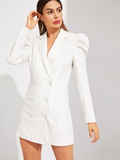 Double Breasted Puff Sleeve Solid Blazer Dress
