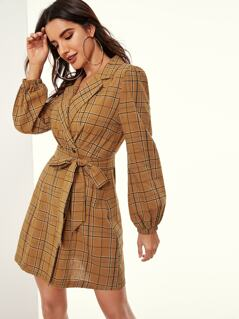 Lantern Sleeve Plaid Blazer Dress With Belt