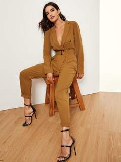 Notched Collar Double Button Plunging Jumpsuit
