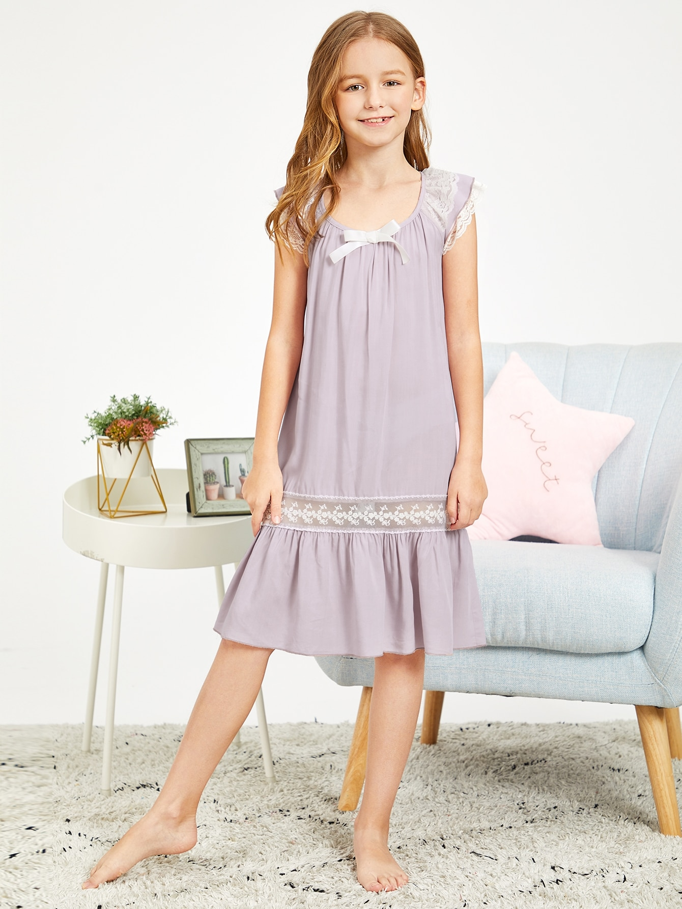 Ночь платье с кружевом и оборками для девочек от SheIn