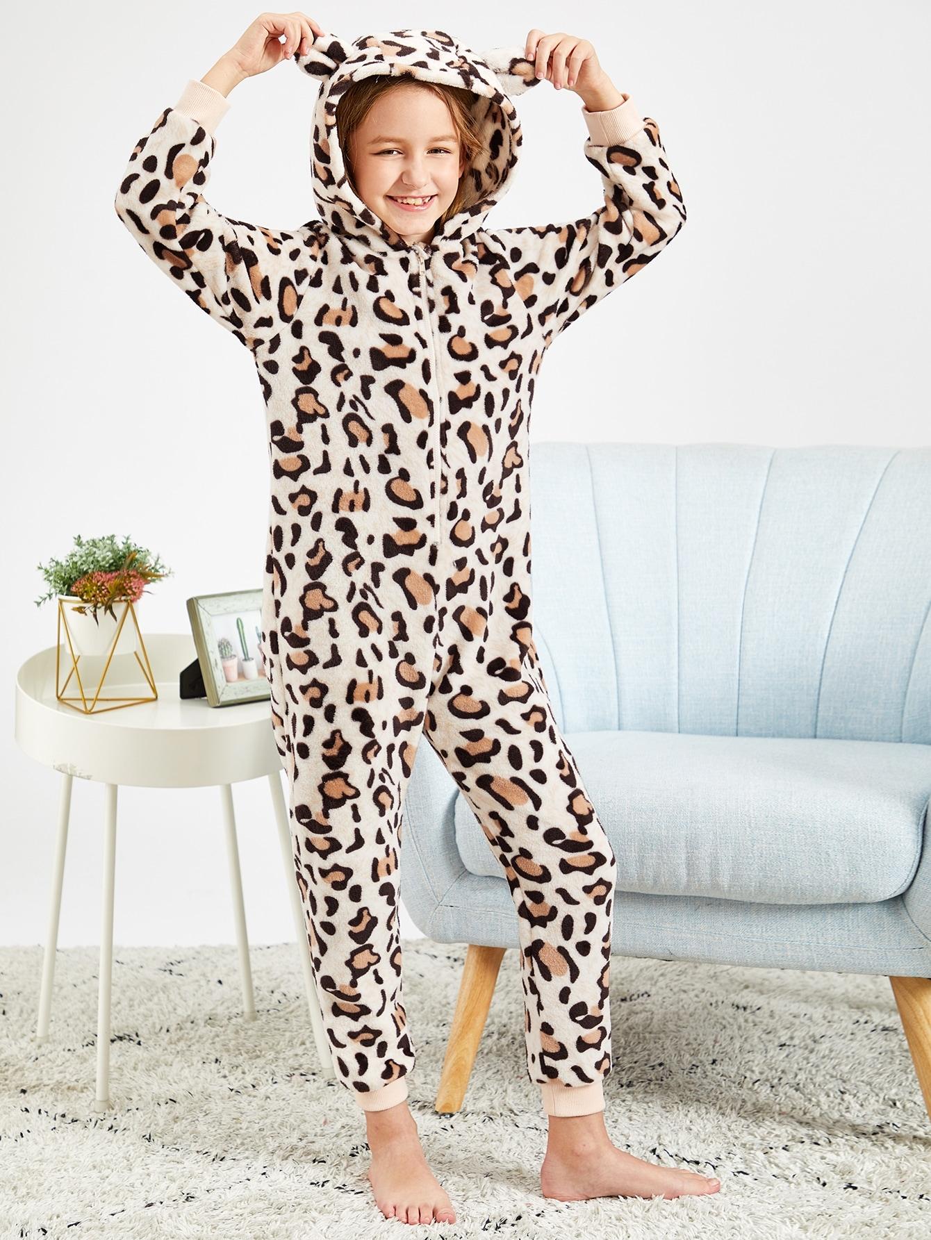 Леопардовая пижама тедди с капюшоном застёжкой молния и ушами для девочек от SheIn