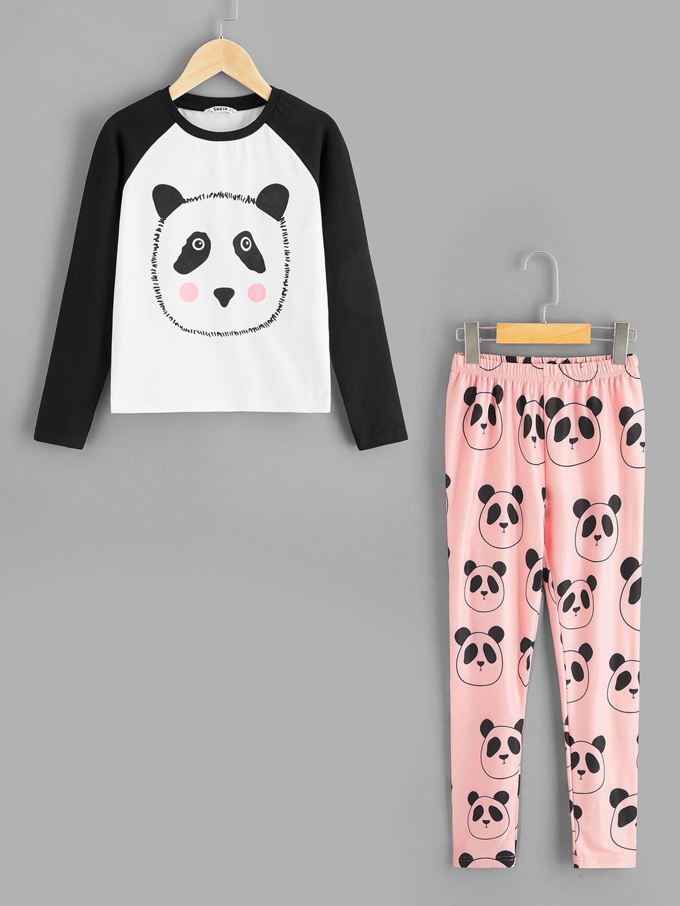 Футболка с принтом и брюки пижамы комплект для девочек от SheIn