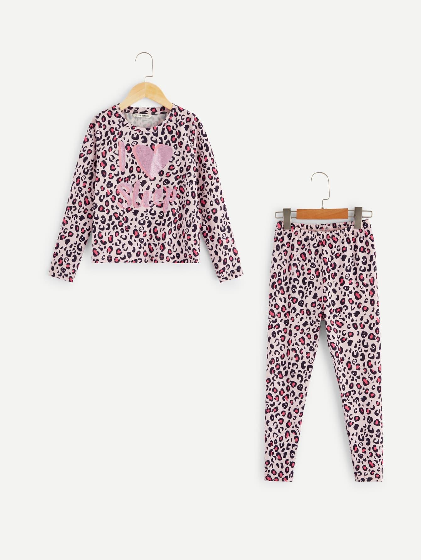 Женская леопардовая футболка с текстовым принтом и брюки комплект от SheIn