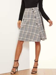 Striped Slide Buttoned Glen Plaid Skirt