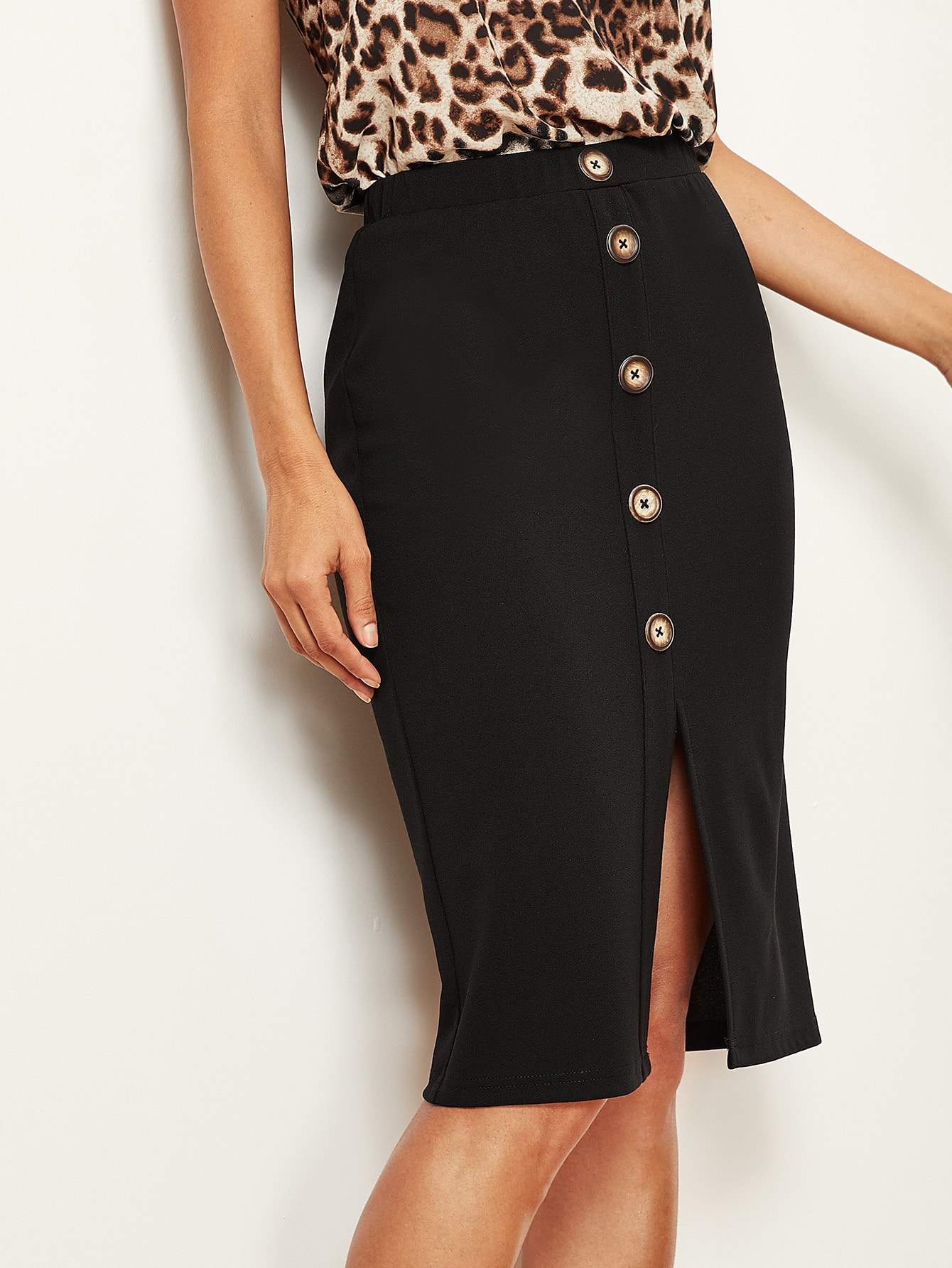 Купить Однотонная юбка с пуговицами и разрезом, Juliana, SheIn