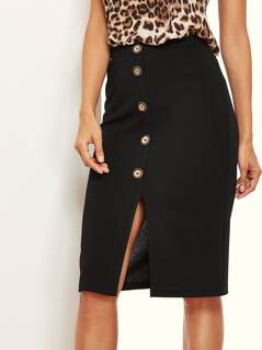 Button Front Split Solid Skirt