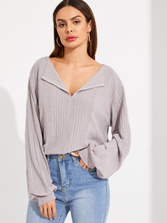 V Neck Bishop Sleeve Solid Ribbed Tee