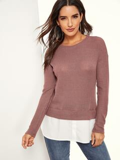 Contrast Curved Hem Waffle Top