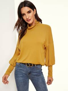 Exaggerated Sleeve Ribbed Knit Tee