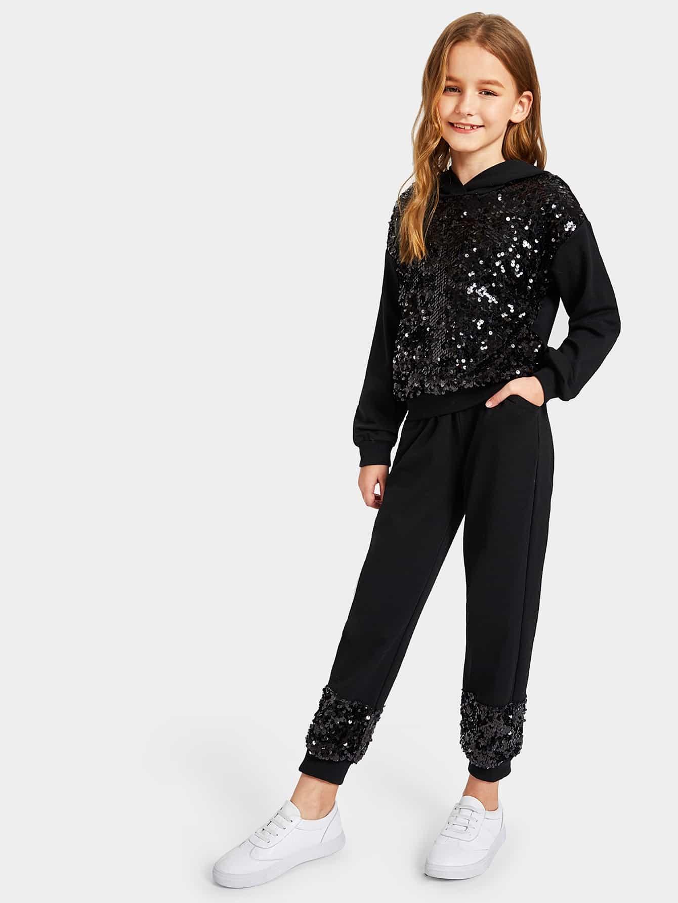 Толстовка с блестками и спортивные брюки для девочек от SheIn