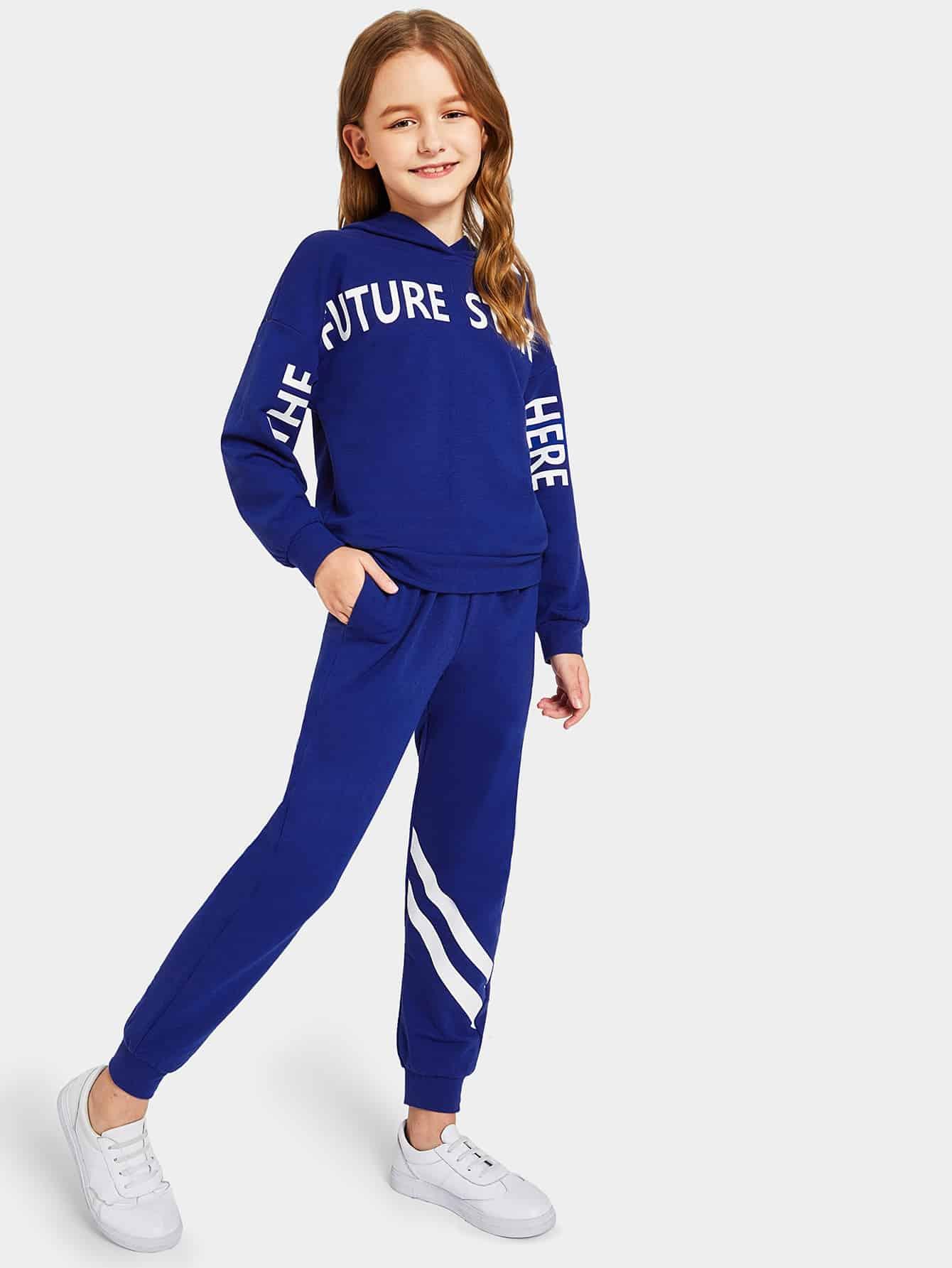 Купить Женская толстовка с текстовым принтом и полосатые спортивные брюки комплект, Sashab, SheIn