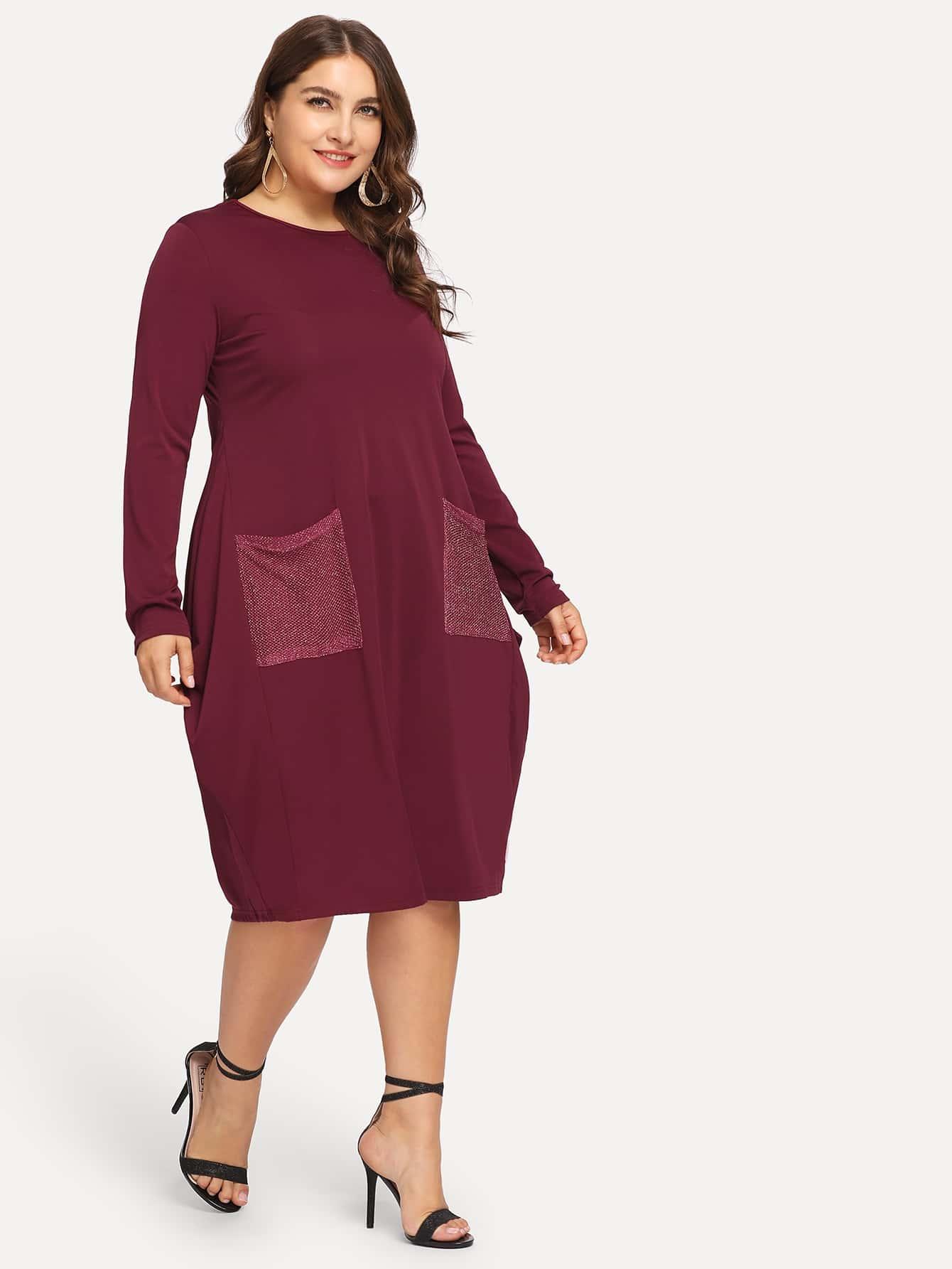 Платье с двойными карманами размера плюс