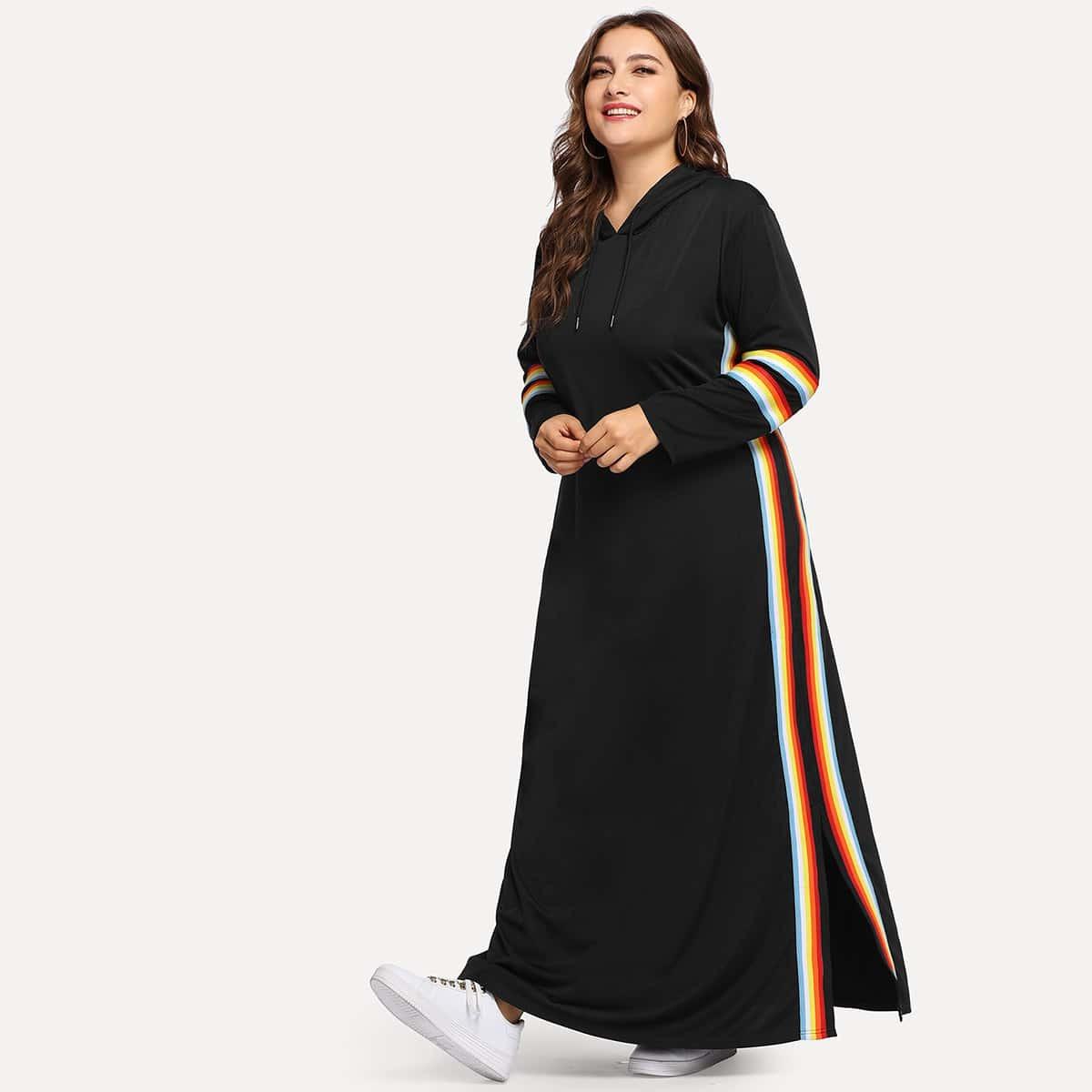 Zwart Casual Gestreept Grote maten jurken Koord