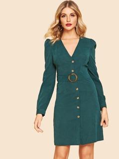 80s Puff Sleeve Button Up Dress