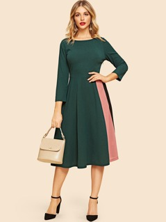 80s Cut-and-sew Fit & Flare Dress