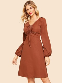80s Raglan Sleeve Drawstring V Neck Dress