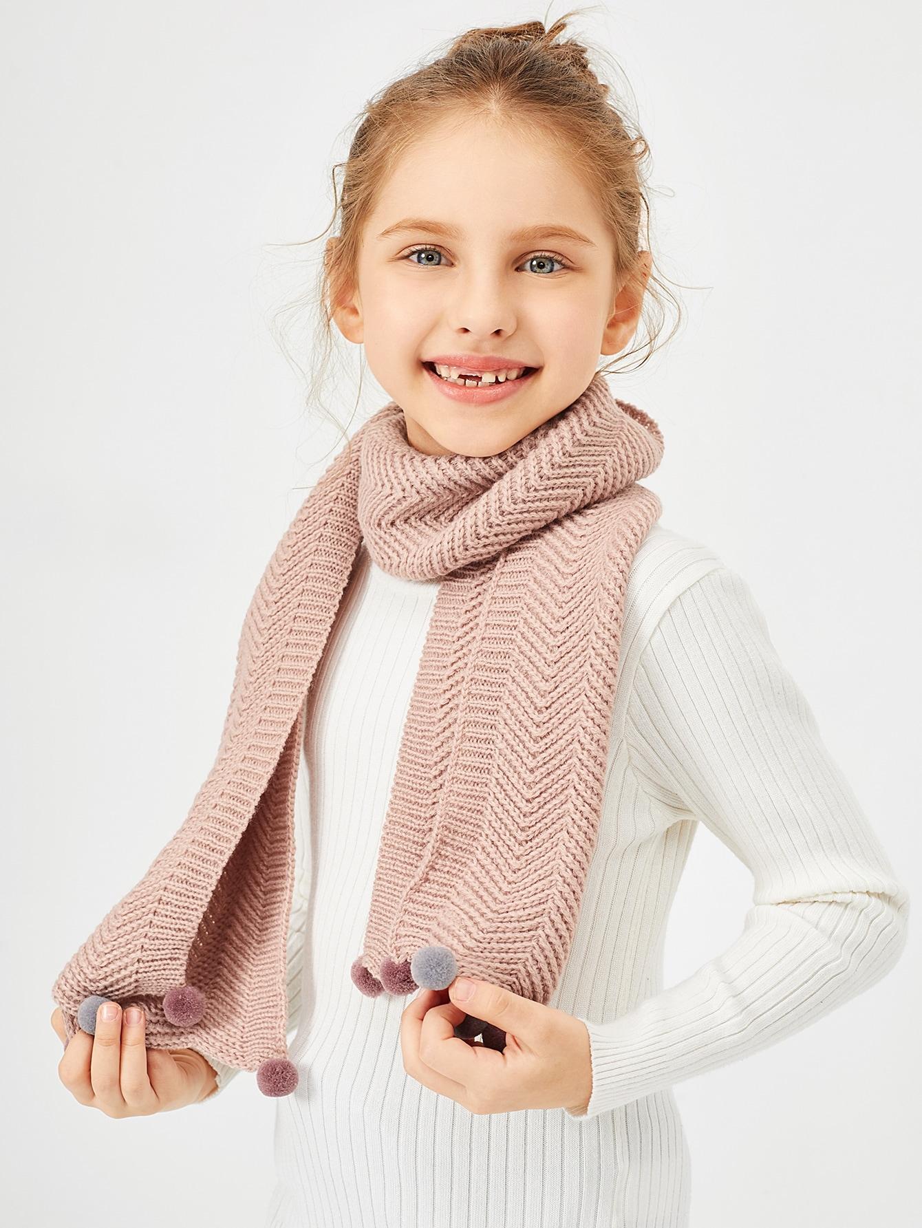 Купить Вязаный шарф с помпоном для девочек, null, SheIn