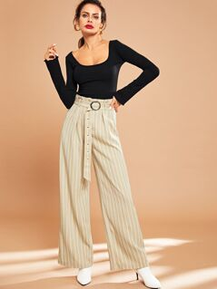 O-Ring Belted Striped Pants