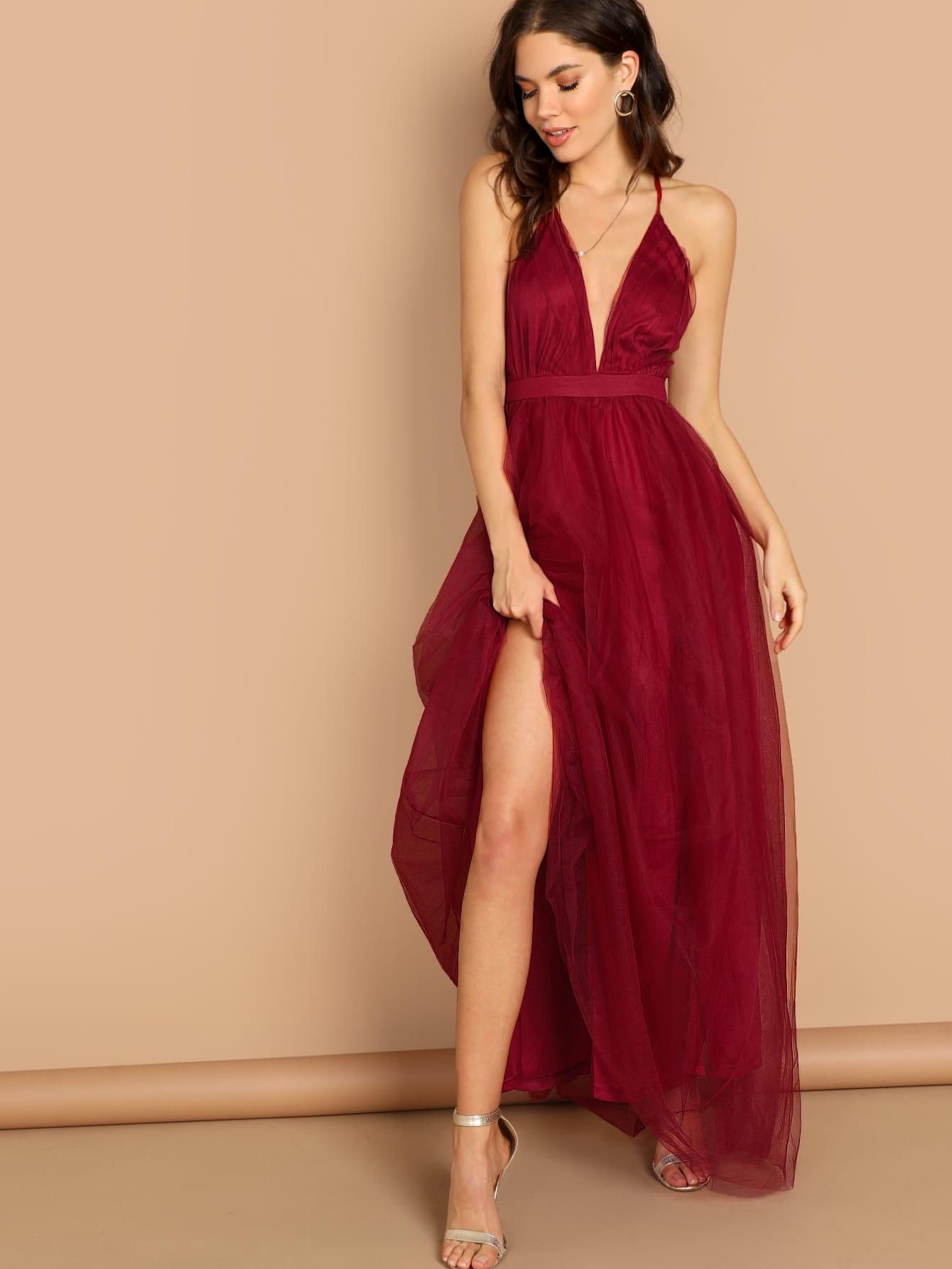 Фото - Крест сзади платье без рукавов с глубоким вырезом от SheIn цвет бургундия