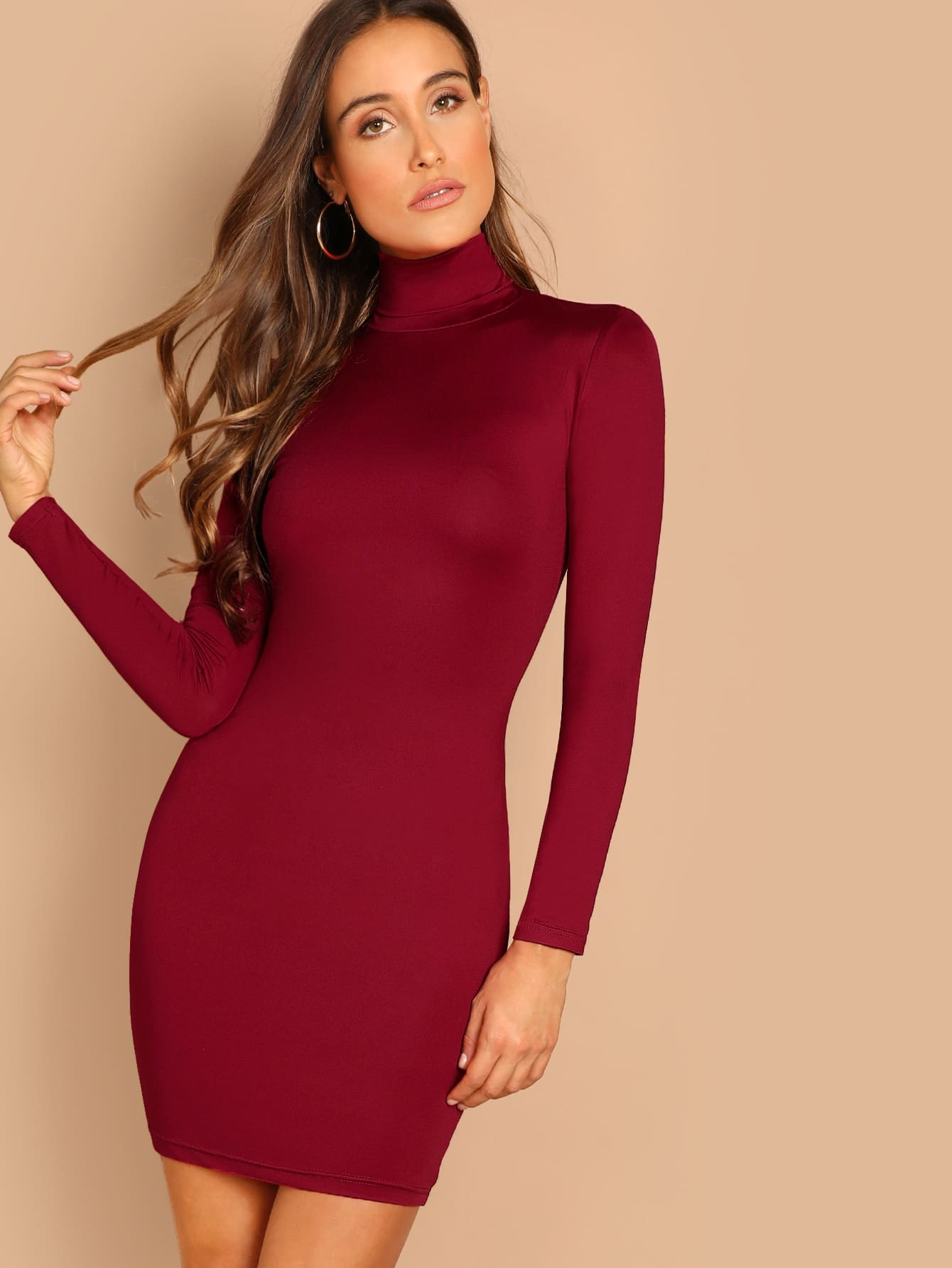 Купить Облегающее платье с высоким воротом, Aarika Wolf, SheIn