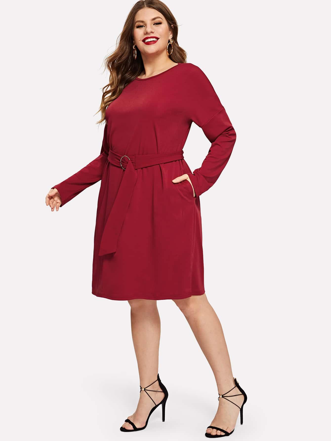 Купить Платье с поясом и заниженной линией плеч размера плюс, Isabela, SheIn