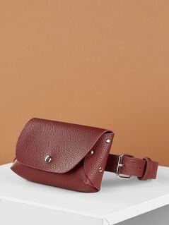 Adjustable Waist Belt Pebbled Faux Leather Bum Bag