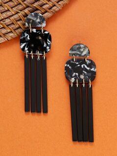 Marble Detail Fringe Acetate Dangle Earrings
