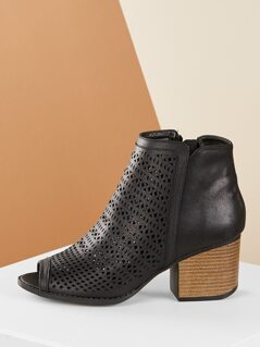Perforated Open Toe Stacked Heel Ankle Boots