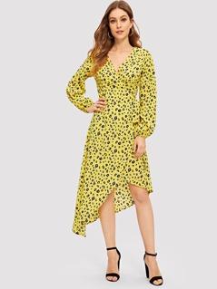 Surplice Neck Asymmetrical Hem Leopard Print Dress