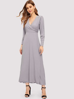 Wrap V Neck Flowy Dress