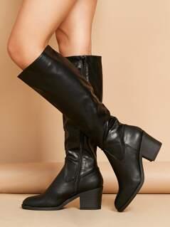 Knee High Chunky Heel Almond Toe Riding Boots