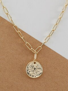 Chain Link Necklace With Hammered Disc Pendant