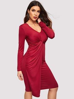 Twist Front V-neck Solid Dress