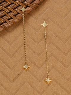 Cubic Zirconia Star Burst 14k Dipped Drop Earrings