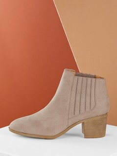 Stretch Almond Toe Chelsea Chunky Heel Ankle Boots