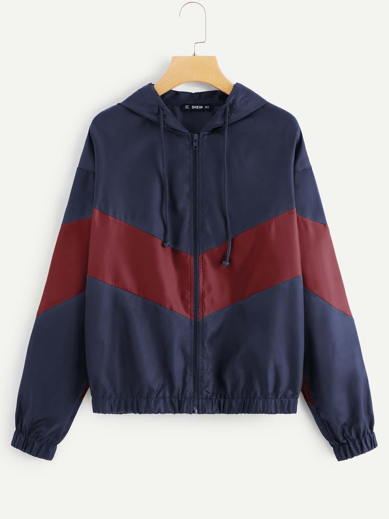 Купить Двухцветная куртка с капюшоном и заниженной линией плеч, null, SheIn