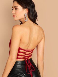 Lace Up Back Crop Bandeau Top