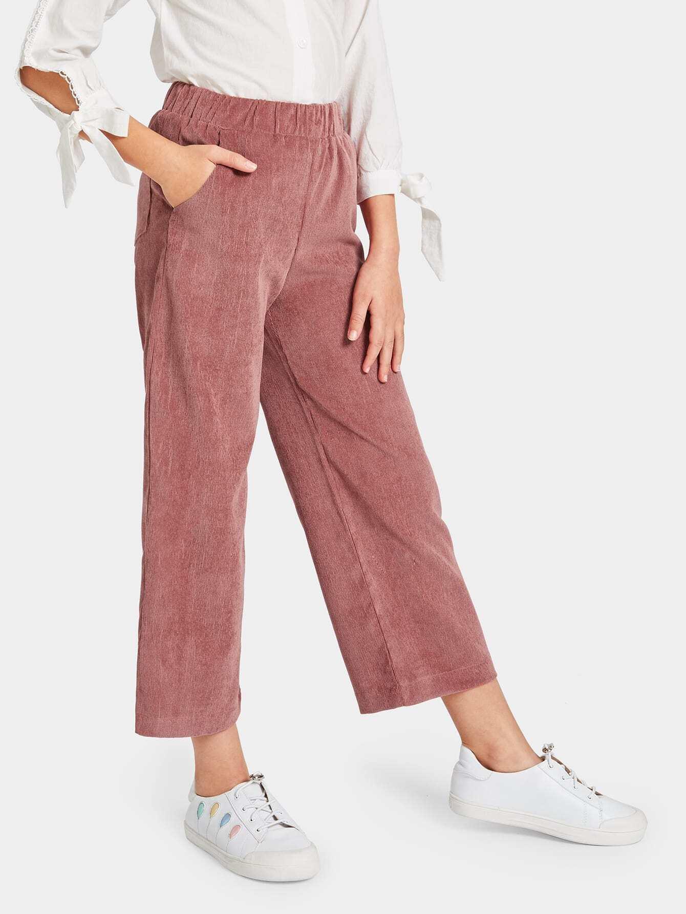 Купить Широкие вельветовые брюки с карманом для девочек, Sashab, SheIn