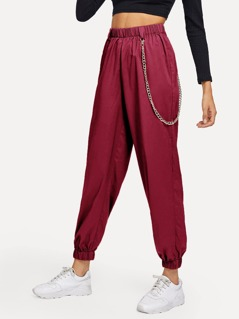 Elastic Waist and Hem Chain Embellished Pants