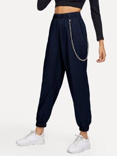 Elastic Waist and Hem Chain Embellished Pants