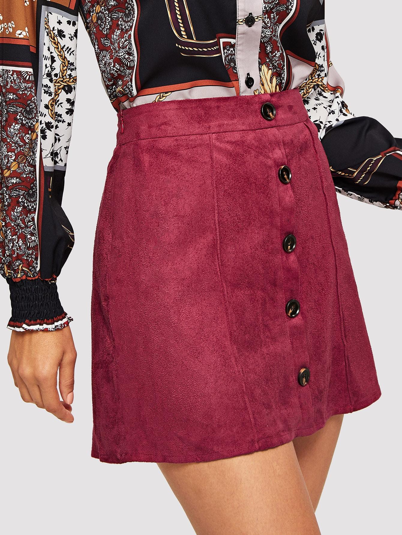 Купить Замшевая юбка с пуговицами, Juliana, SheIn
