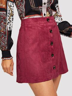 Button Front Suede Bodycon Skirt