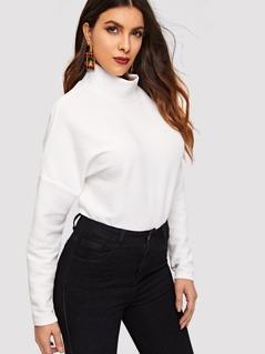 Mock-neck Drop Shoulder Ribbed Sweatshirt