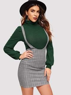 High Waist Glen Plaid Pinafore Skirt
