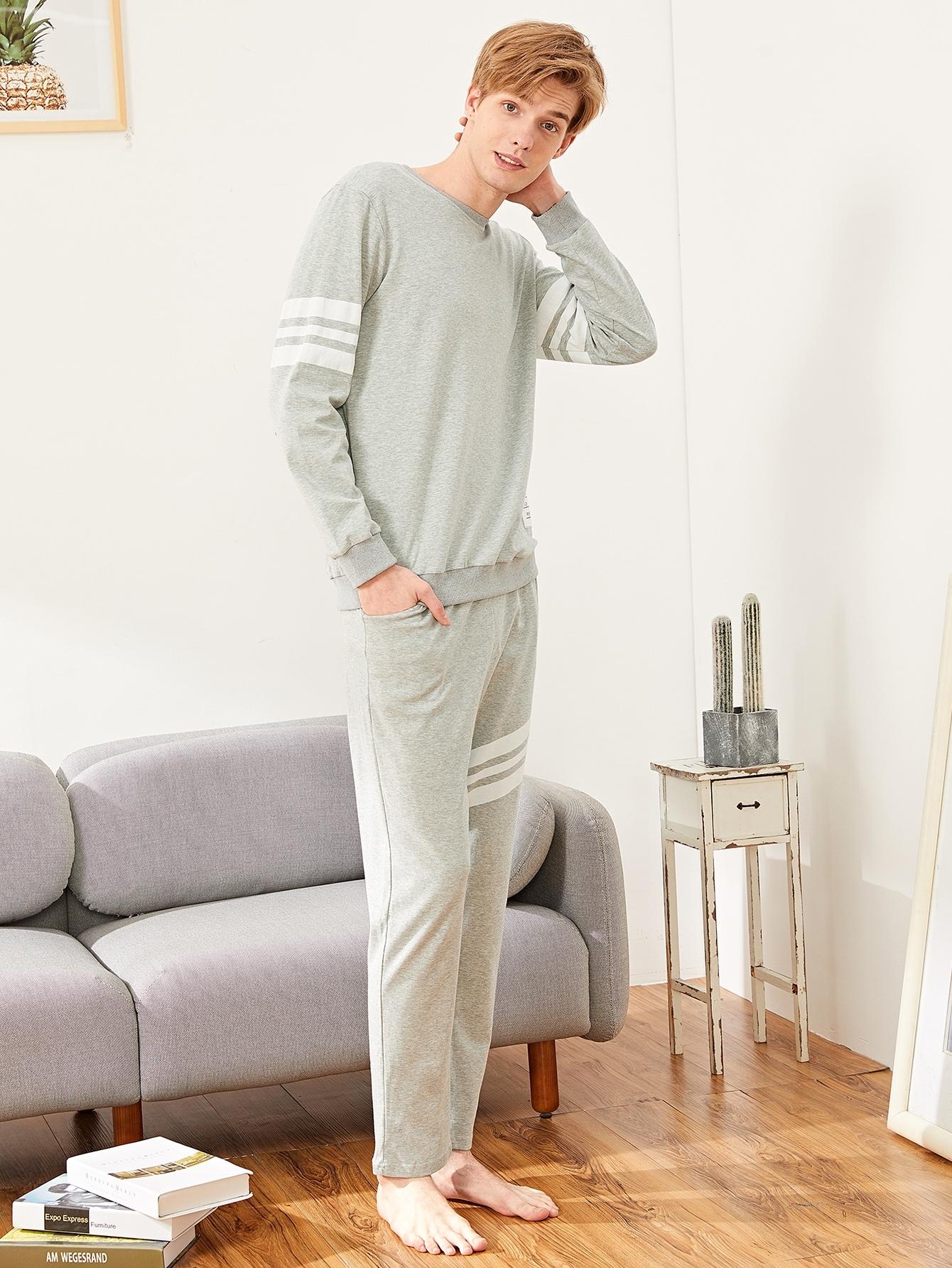 Купить Мужская контрастная пижама в полоску с заплатой текстовой, Simon, SheIn
