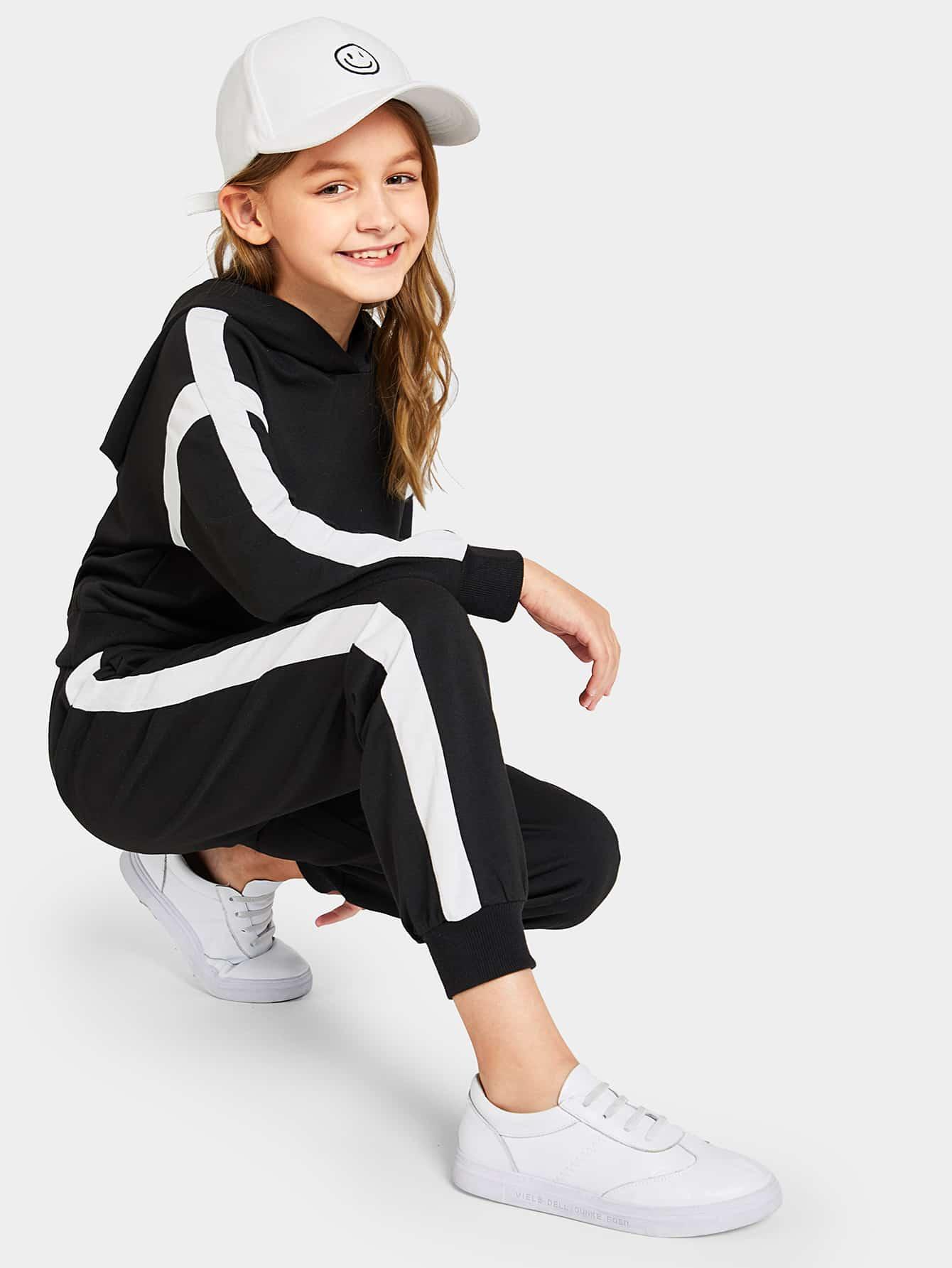 Купить Двухцветная толстовка и спортивные брюки комплект для девочек, Sashab, SheIn