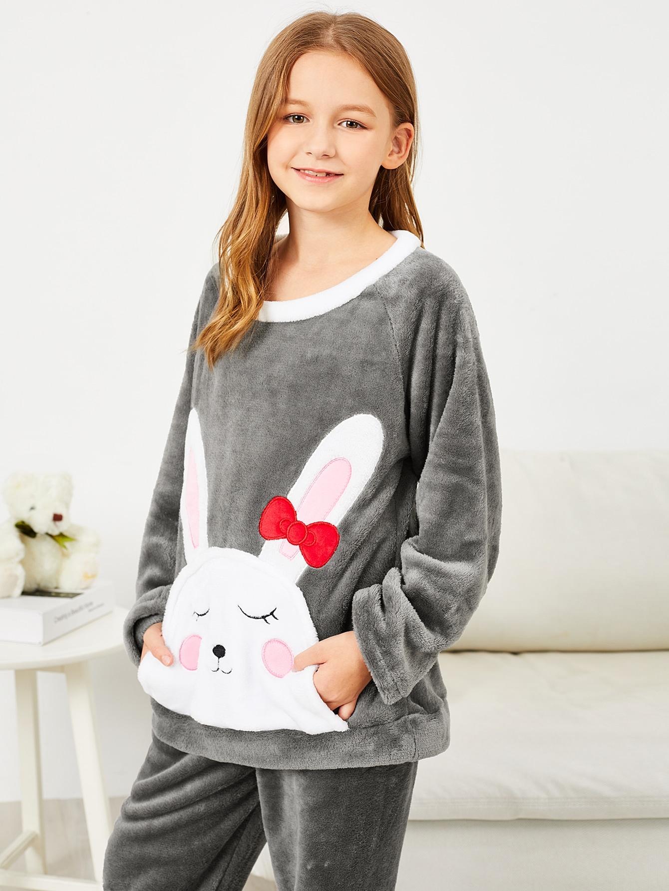 Пушистая пижама с принтом вышитого кролика для девочек от SheIn