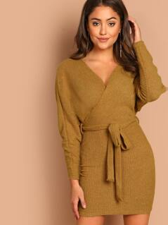 Surplice Neckline Waist Tie Mini Sweater Dress